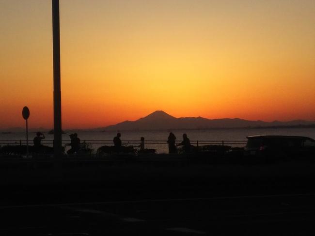 稲毛海岸 富士山 夕焼け